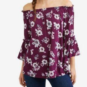 Tops - Burgundy Off Shoulder Floral Top